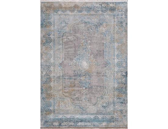 Woolknot Craft MT100 Gri Mavi Viskon Halı Kapak Resim