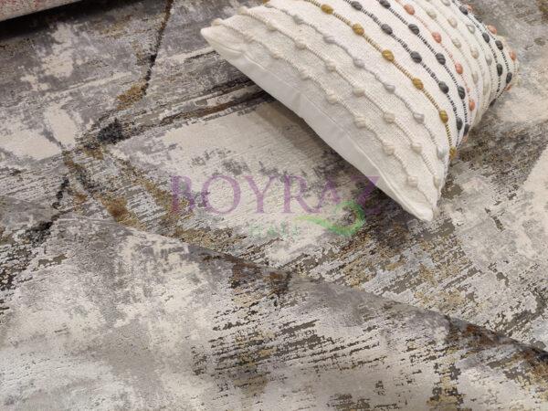Woolknot Craft MT052 Antrasit Krem Viskon Halı Dekorlu Çekim