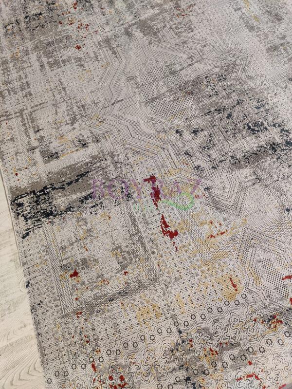 Artemis Couture 0831A Kırmızı Gri Viskon Halı Tepeden Çekim