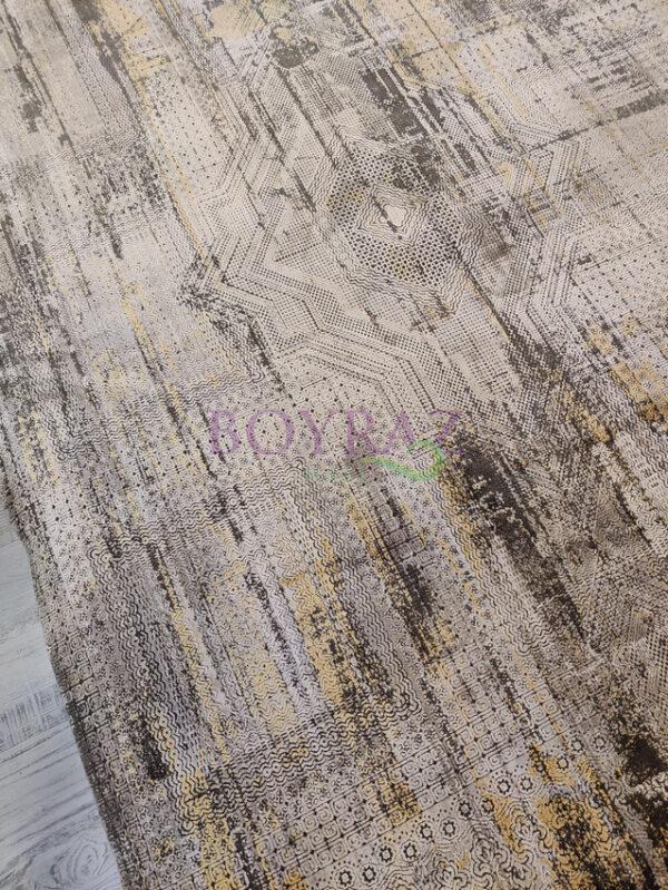 Artemis Couture 0831B Antrasit Sarı Viskon Halı Tepeden Çekim