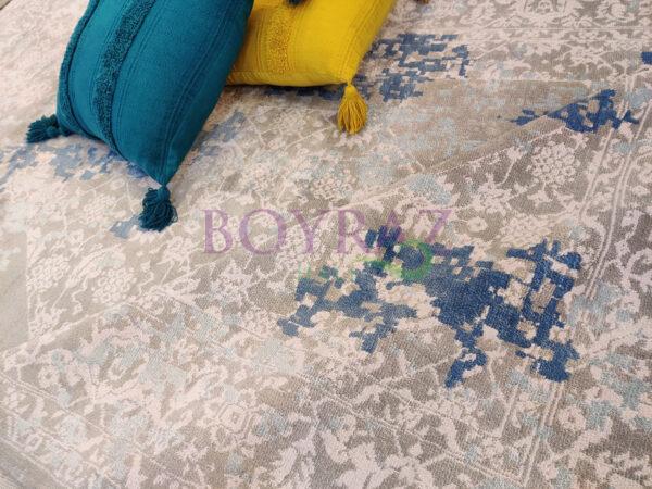 Tuğra La Boutique Platinum 1204 Mavi Bambu Halı Dekorlu Çekim