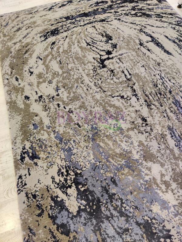Eko Heritage 626 Grey Blue Gri Mavi Yün ve Viskon Karışımlı Halı Tepeden Çekim
