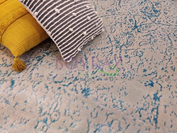 Tuğra La Boutique Saten 04 Su Yeşili Yün ve Akrilik Karışımlı Halı Dekorlu Çekim
