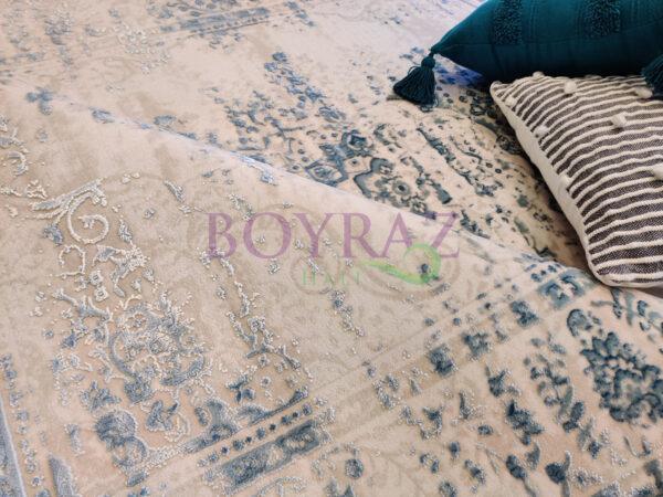 Angora Rustik 3950D Mavi Viskon Halı Dekorlu Çekim