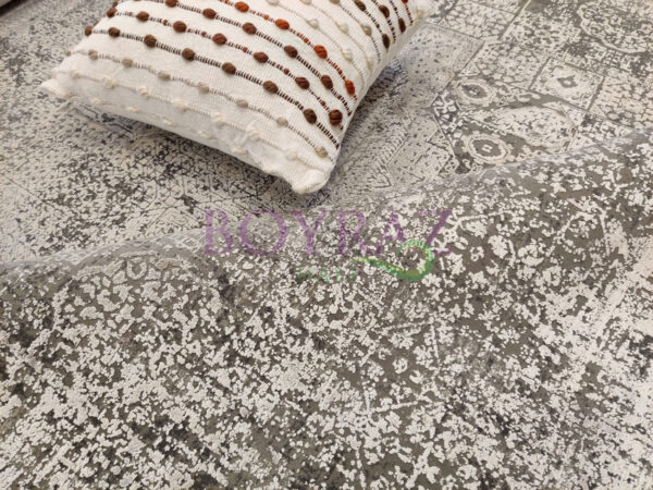 Woolknot Craft MT040 Gri Beyaz Viskon Halı Dekorlu Çekim