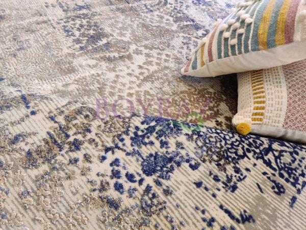 Angora Impressive 9027V Gri Mavi Viskon Halı Dekorlu Çekim