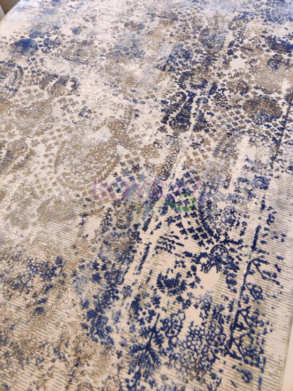 Angora Impressive 9027V Gri Mavi Viskon Halı Tepeden Çekim