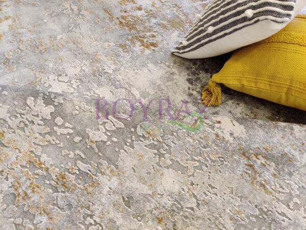 Angora Impressive 8493T Gri Sarı Viskon Halı Dekorlu Çekim