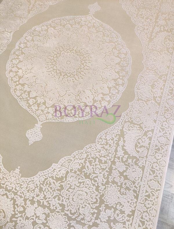 Royal Hermes HE32D Beyaz Viskon Halı Tepeden Çekim